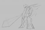 1boy armor artist:leia cape end_game_was_taken lamorak monochrome sketch sword  rating:Safe score:0 user:ourobooru