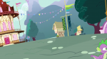 city_hall exterior flag from_below hill mountain ponyville s03e05 symbolism timber-framing tree  rating:Safe score:0 user:Pix3M