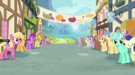 3/4 amethyst_star background banner berry_punch building caramel exterior fruit gala_appleby golden_harvest holding lily_valley lyra_heartstrings mare meadow_song ponyville s03e04 sign sweetie_drops timber-framing window  rating:Safe score:1 user:Pix3M