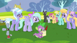 3/4 bow cloud_kicker cloudchaser colt dizzy_twister dragon eyebrow_raised flitter foal front helia mare notepad quill rainbowshine rumble s02e22 spike thunderlane  rating:Questionable score:0 user:ponyresource