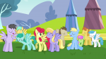 3/4 cerulean_skies cloud_kicker crescent_moon crowd eyes_closed frown leg_bent leg_up lightning_bolt mare medley merry_may mouth_open rainbow_swoop raindrops s02e22 sitting smile stallion strawberry_sunrise sunburst teeth wings_up  rating:Questionable score:0 user:ponyresource