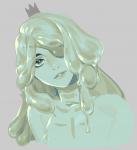 crown eyepatch gen_i green_hair green_skin princess slime slime_princess  rating:Safe score:0 user:_ChroniclerKnight