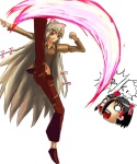 colored fujiwara_no_mokou reimu_hakurei touhou white_hair yukkuri  rating:Questionable score:0 user:fryman94
