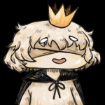 1boy artist:pureo2 bandages blind_prince blindfold cape chibi colored crown happy parody short_hair smile usotsukihime white_hair  rating:Safe score:1 user:PureO2