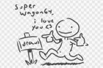 1guy artist:kking64 drawfag lineart pose sign text  rating:Questionable score:1 user:bad_draw_fag