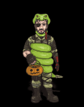 1boy 2018_halloween_collab artist:pureo2 blue_eyes boots brown_hair candy collab colored costume eyepatch gloves halloween halloween_collab jack-o'-lantern metal_gear_solid metal_gear_solid_v punished_snake snake venom_snake  rating:Safe score:0 user:PureO2
