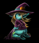 1girl blonde_hair blue_eyes green_skin imp jack-o'-lantern long_hair pumpkin rosalina shortstack star super_mario super_mario_(series) the_legend_of_zelda transformation twilight_princess witch witch_hat  rating:Questionable score:1 user:tanasinn