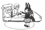1boy 1girl animal_ears animal_girl bat bat_wings bed bowl car_bed common_vampire_bat faceless fang food kemono_friends medical_mask no_pillow sick slippers soup spoon surgical_mask sweating tagme wheel  rating:Safe score:0 user:Paper