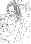 1boy baby character:medusa closed_eyes family greek_clothing jacket living_hair mythology simple_background sketch slit_eyes snake  rating:Safe score:0 user:Lil_Slump