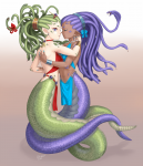 2girls bracelet closed_eyes earrings green_hair hair_bow hair_ornament hug kiss moreno naga purple_eyes purple_hair rubia scales snake  rating:Questionable score:0 user:Lil_Slump