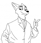 artist:foxbutt character:nick_wilde pointing smug solo species:fox suit  rating:Safe score:0 user:tangerine